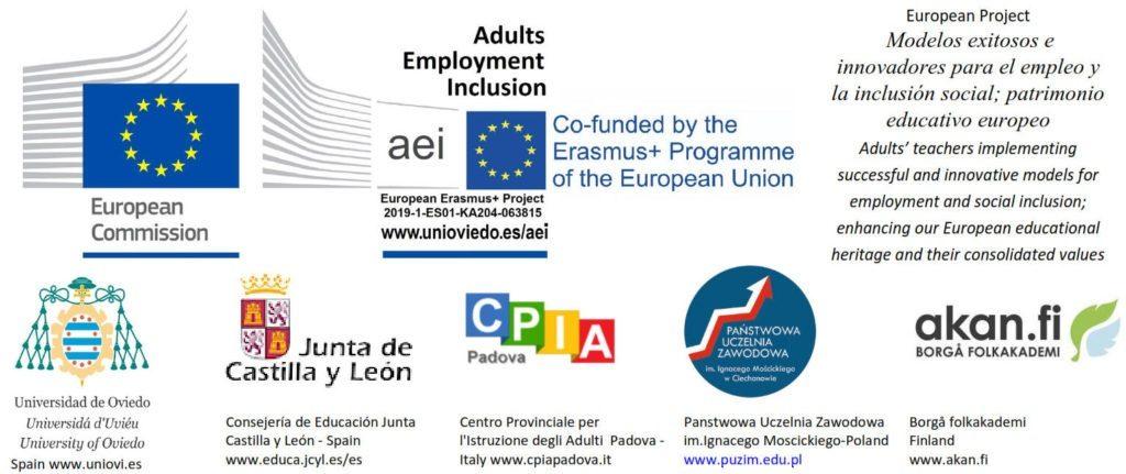 Logotipos de los partipantes en el proyecto Erasmus+