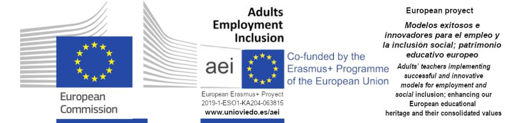 Logos de Comisión Europea y proyecto Erasmus+ aei