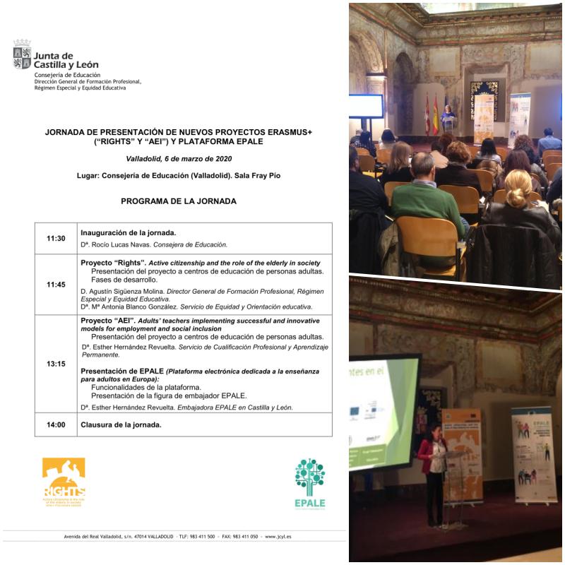 Jornada de presentación de nuevos proyectos Erasmus+ (RIGTHS y AEI) en los que participa la Consejería de Educación en materia de educación de personas adultas y plataforma EPALE