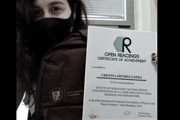 Cristina Méndez has received an award for her oral presentation at Open Readings 2021!