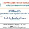 """Seminario """"Debates y transformaciones de la garantía de mínimos en España"""""""