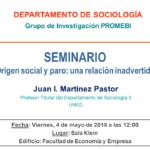 """Seminario """"Origen social y paro: una relación inadvertida"""""""