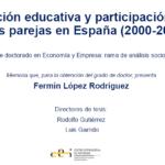 Tesis doctoral de Fermín López Rodríguez «Composición educativa y participación laboral de las parejas en España (2000-2018)»