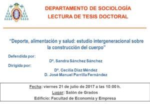 CARTEL LECTURA TESIS SANDRA SÁNCHEZ