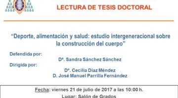 """La doctoranda Sandra Sánchez Sánchez defiende su tesis doctoral titulada """"Deporte, alimentación y salud: estudio intergeneracional sobre la construcción del cuerpo"""" el 21 de julio a las 10h"""